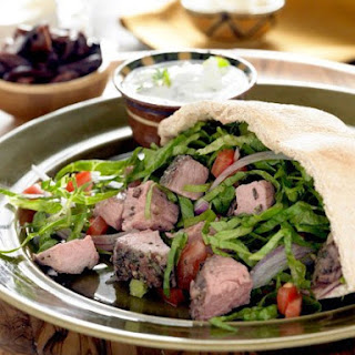 Lamb Pitas with Cucumber Mint Tzatziki.