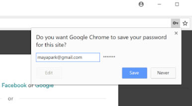 Do you want Google Chrome to save your password to this site? dialog box