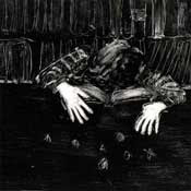 Photo: monotype - ink painting based on a scene from Super 8 mm movie portrait