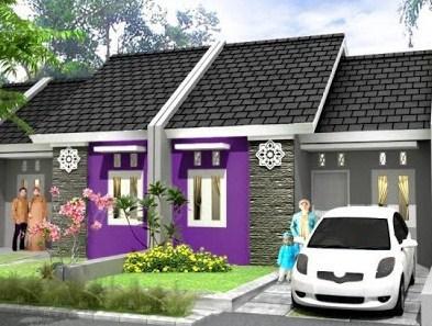 kombinasi warna cat rumah minimalis tampak depan ungu