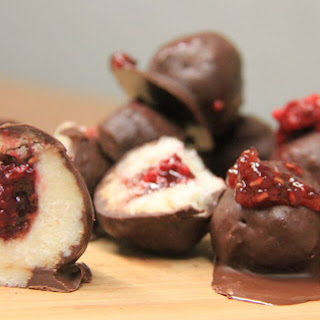 Raspberry-Filled Chocolate Coconut Truffles [Vegan, Gluten-Free].