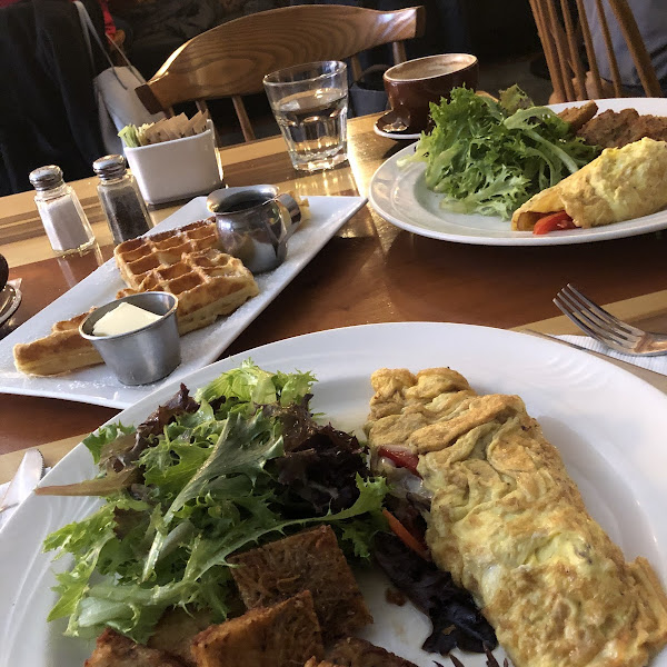 Belgian Waffle and potato latkes and omelette. Completely gluten free and SO totally amazing.