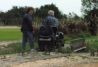 Photo: Virginia and Gil Freitag turning their loco to get at the front of the train.   2009-1127 HALS Anniversary Meet