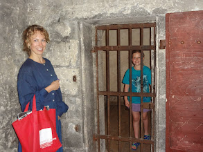"""Photo: We took a tour of the Morrin Centre and Julia got put in jail for """"stealing tea"""""""