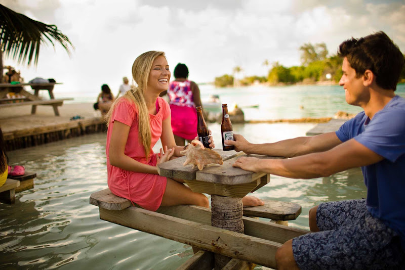 Waterside dining in Caye Caulker Village, Belize.