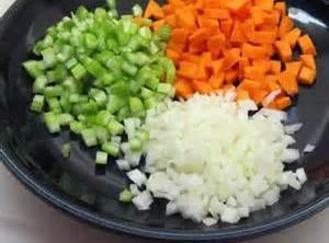 First: Melt butter in a sauté pan and add diced vegetables & garlic. Sauté...