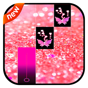 Pink Piano Glitter Tiles Butterfly