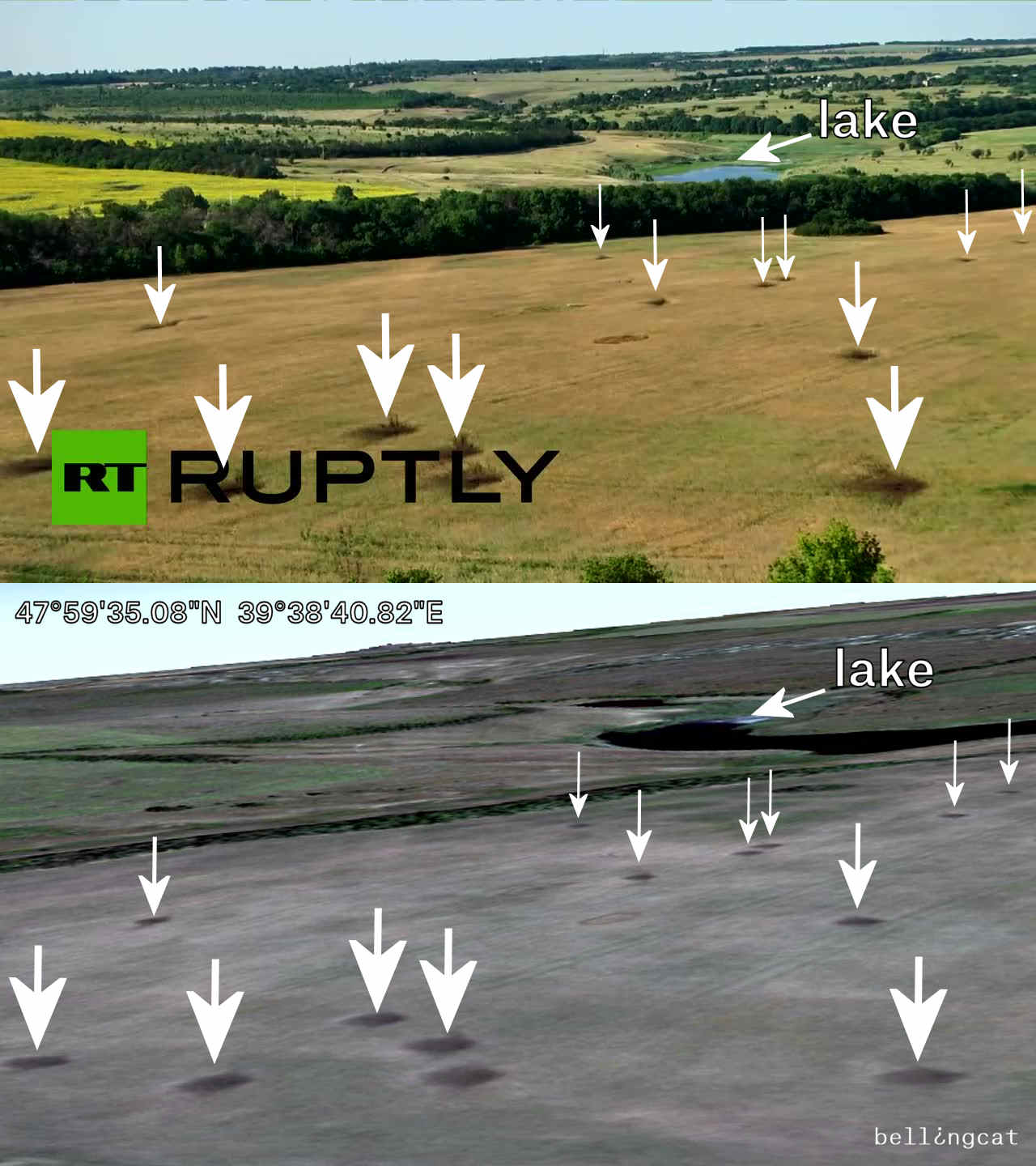 Comparison shot from Ruptly video and the 15 August 2014 satellite image from Google Earth