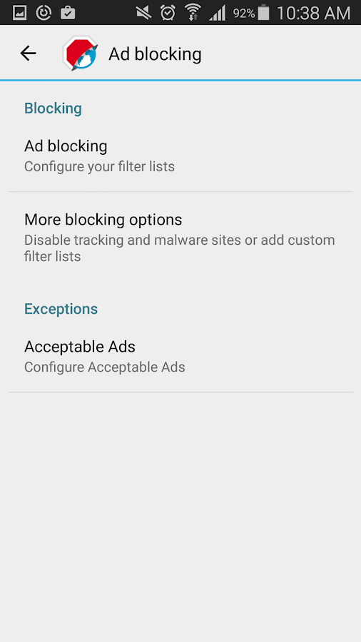 ‪Adblock Browser for Android‬‏- لقطة شاشة