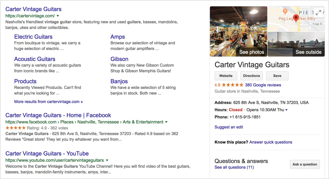 Businesses with search listings