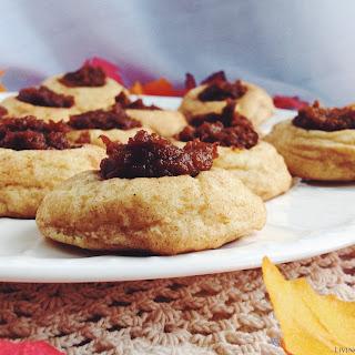 Snickerdoodle Pumpkin Thumbprint Cookies.