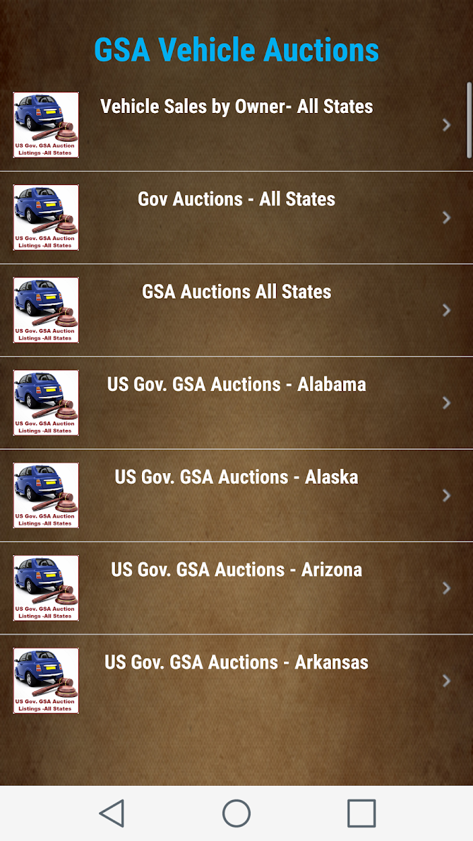 US Goverment GSA Auction Listings - All States Android 9