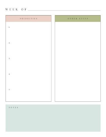Week Priorities - Weekly Planner template