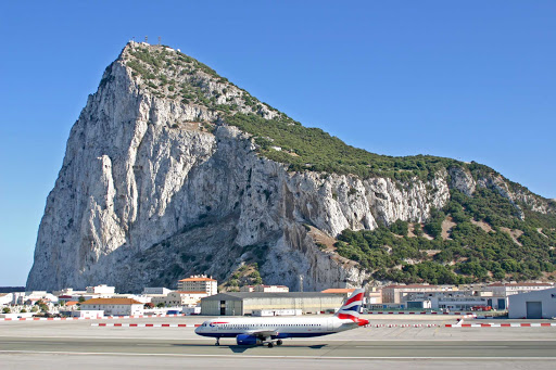 The Gibraltar Airport stands in the shadow of the Rock.
