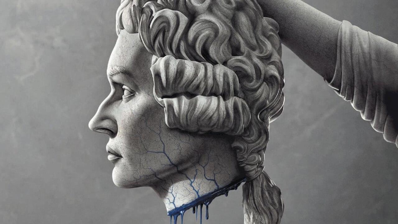 Divulgação da série La Révolution, Netflix, 2020. Na imagem, há uma cabeça decapitada com sangue azul escorrendo.