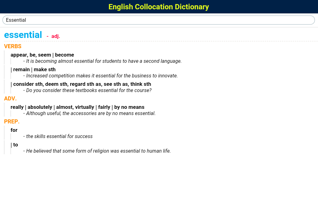 English Collocation Dictionary- screenshot