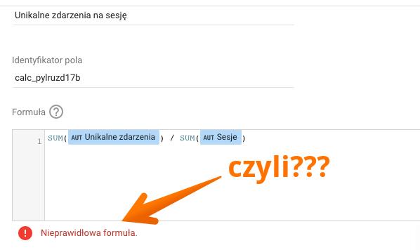 błąd w google data studio