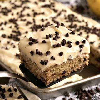 Banana Chocolate Chip Sheet Cake with Cream Cheese Frosting.