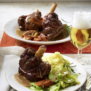 Braised Lamb Shanks with Creamed Cabbage and Mashed Potatoes.
