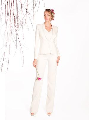 Tailleur pantalon 3 pièces Eucalyptus, veste col châle, pantalon droit, caraco aux manches courtes en dentelles, pour mariage civil