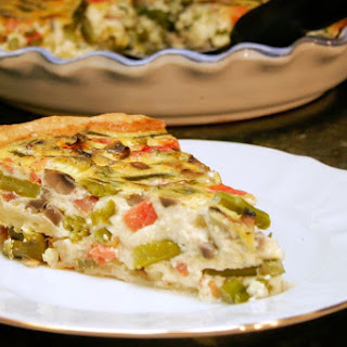 Asparagus Quiche with Mushrooms and Tomatoes Recipe