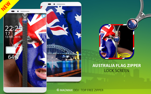 Australia Zipper Lock Screen