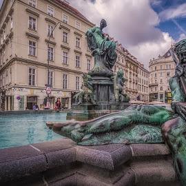 Donnerbrunnen by Ole Steffensen - City,  Street & Park  Fountains ( fountain, donnerbrunnen, austria, wien, vienna )