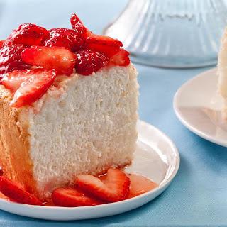 Orange Angel Food Cake with Strawberries