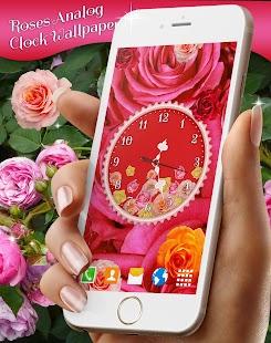 Roses Analog Clock Wallpaper - náhled