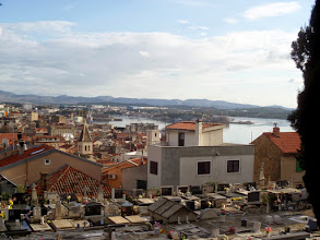 Photo: That afternoon I climbed to see a wonderful view of the town that overlooked an old cemetery.