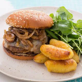 Mushroom & Swiss Burger with Pan-Seared Fingerling Potatoes.