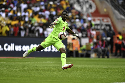 Daniel Akpeyi of Orlando Pirates during the Absa Premiership match between Orlando Pirates and Kazier Chiefs at FNB Stadium on February 09, 2019 in Johannesburg, South Africa.
