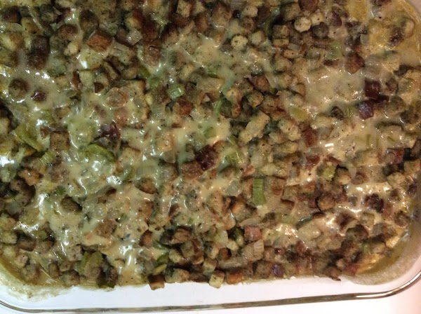 Melt remaining butter & pour over stuffing. Cover with foil. Bake for 45 min....