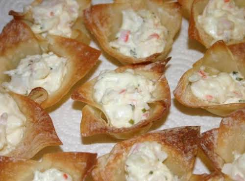 """Crab and Chive Baked Ragoons """"Very easy and yummy! My husband had..."""