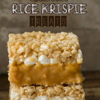Caramel Stuffed Rice Krispie Treats