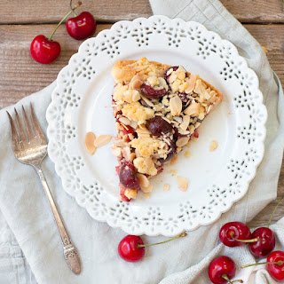 Cherry Almond Shortbread Crumble Tart