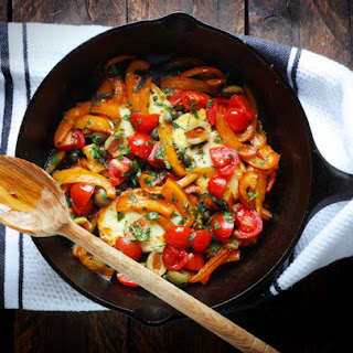 Halloumi with Seared Red Peppers, Olives and Capers
