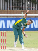 Thando Ntini   during the SA U-19 Tri-Series final  against  England at Senwes Park   in Potchefstroom at the weekend.