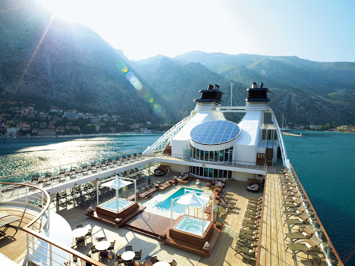Seabourn-Odyssey-pool-deck - A view of Seabourn Odyssey's Pool Deck as she sails the Adriatic Sea.