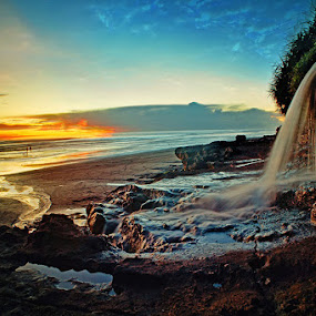 A Small Waterfall On Coast by Widia Widana - Landscapes Beaches