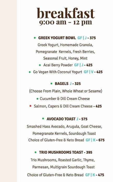 The Cafe by Foodhall menu 1