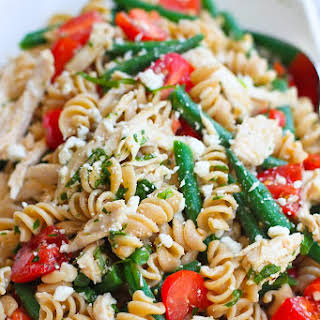 Chicken Pasta Salad with Green Beans, Tomatoes & Feta Cheese.