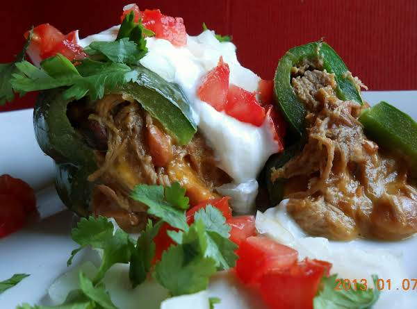 Meat Cheese And Bean Stuffed Poblano