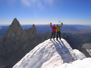 Photo: On the summit of Cerro Torre with Fitz Roy in the background