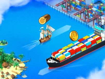Sea Port: Build Town & Ship Cargo  MOD APK (Unlimited Gems) 4