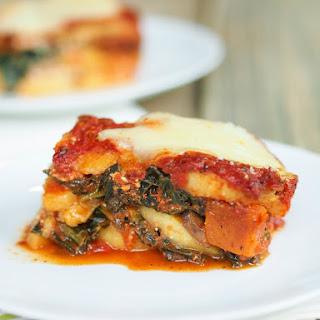 Polenta Vegetable Lasagna with Kale, Butternut Squash & Mushrooms.