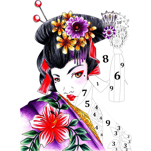 Japenese Color by Number - Adult Coloring Book Icon