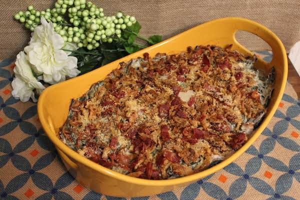 Delectable Bacon & Mushroom Green Bean Casserole