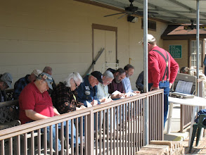 Photo: Conductor's class taking a test while Ed Rains, the teacher, watches.  HALS 2009-0228