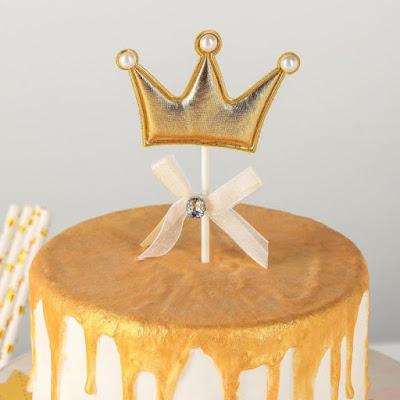 Топпер на торт «Корона», 17,5×8 см, цвет золотой